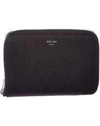 Céline - Céline Leather Zip Around Wallet - Lyst