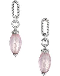David Yurman - David Yurman Bijoux 18k & Silver 0.13 Ct. Tw. Diamond & Rose Quartz Earrings - Lyst
