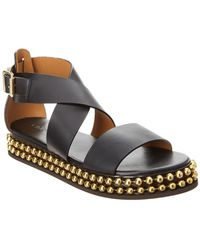 17a2b1841f37 Lyst - Vince Sawyer Leather Ankle-Wrap Sandal in Black