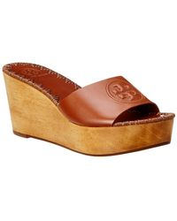 Tory Burch Patty 80mm Leather Wedge Sandal