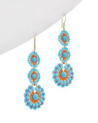 Miguel Ases - 18k Plated Turquoise Beaded Triple Drop Earrings - Lyst