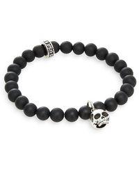 King Baby Studio - Black Onyx & Silver Beaded Skull Charm Bracelet - Lyst