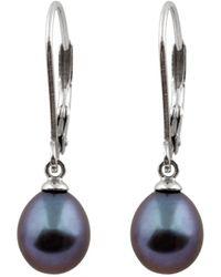 Splendid - Rhodium Plated 10-11mm Tahitian Pearl Drop Earrings - Lyst