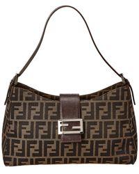2ed7b328b0b Lyst - Fendi Zucca Pattern Logos Shoulder Bag Brown Made Italy ...