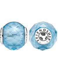 PANDORA - Essence Collection Silver & Sky-blue Crystal Friendship Charm - Lyst
