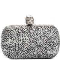Alexander McQueen - Silver & Black Leather Crystal Skull Clutch - Lyst