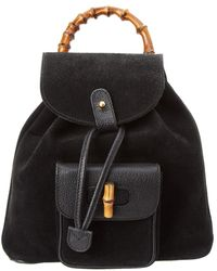 Lyst - Gucci Black Leather Limited Edition Bamboo Backpack in Black 43e8ad55fc67b