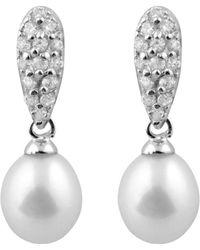 Splendid - Plated Silver 8-8.5mm Freshwater Pearl Drop Earrings - Lyst