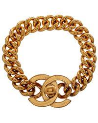 Chanel - Gold-tone Medium Cc Turnlock Bracelet - Lyst