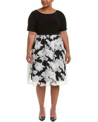 Adrianna Papell - Plus Size Savannah Organza Floral Printed Fit And Flare Dress - Lyst