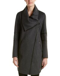 Mackage - Nelia Leather-trim Wool-blend Draped Coat - Lyst