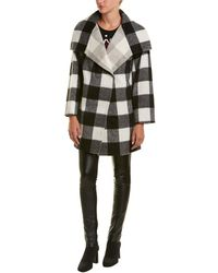 French Connection - Jackie Checked Wide Collar Coat - Lyst