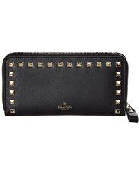 Valentino - Rockstud Leather Zip Around Wallet - Lyst