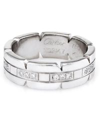 Cartier - Cartier 18k White Gold 0.17 Ct. Tw. Diamond Francaise Ring - Lyst