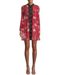 The Kooples - Floral-silk Shirtdress - Lyst