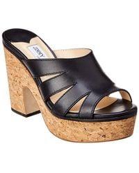 9921f828ff5d1c Jimmy Choo - Dray 100 Leather Platform Sandal - Lyst