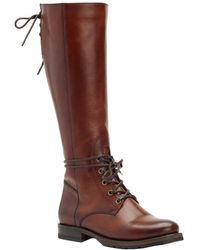 Frye - Natalie Combat Tall Leather Boot - Lyst