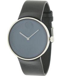 Movado - Men's Leather Strap Watch - Lyst