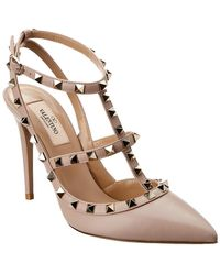 8abdf6d26d6a Valentino - Rockstud Caged 100 Leather Ankle Strap Pump - Lyst