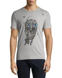 9f7221a6 Alexander McQueen Embroidered Skull Tee in White for Men - Lyst