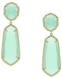 Sparkling Sage - Plated Resin Fringe Drop Earrings - Lyst
