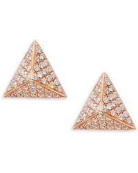 Nephora - Pave Diamond Pyramid 14k Rose Gold Earrings - Lyst