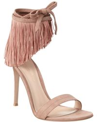 Gianvito Rossi - Olivia Fringe Suede Ankle Wrap Sandal - Lyst