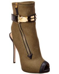 Hot Giuseppe Zanotti - Roxie Denim   Leather Peep-toe Bootie - Lyst 1381427fa7