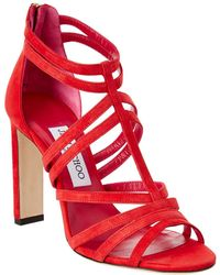 Jimmy Choo - Selina 100 Suede Mix Strappy Sandal - Lyst