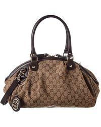 13b822935572 Gucci - Brown GG Canvas & Leather Sukey Boston Bag - Lyst