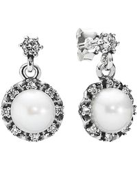 PANDORA - Silver Pearl & Cz Drop Earrings - Lyst