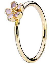 PANDORA - Cherry Blossom 14k Enamel Stackable Ring - Lyst