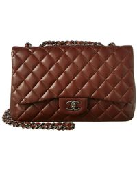 Chanel - Brown Quilted Lambskin Leather New Classic Jumbo Flap Bag - Lyst