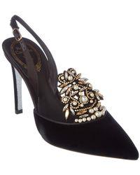 Rene Caovilla - Embellished Velvet & Leather Slingback Sandal - Lyst