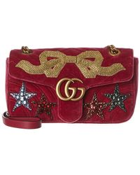 1321e95f61cd Gucci - Marmont Small Embroidered Velvet Shoulder Bag - Lyst
