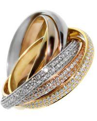 Cartier - Cartier Trinity 18k Tri-tone 1.48 Ct. Tw. Diamond Ring - Lyst