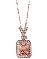 Effy - Fine Jewelry 14k Rose Gold 0.20 Ct. Tw. Diamond & Morganite Necklace - Lyst