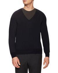 Jil Sander - Wool V-neck Ribbed Sweater - Lyst