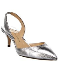 2b6326e3c7b Paul Andrew - Women s Rhea Crackled Metallic Leather Slingback Pumps - Lyst