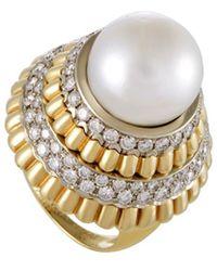 Heritage Van Cleef & Arpels - Van Cleef & Arpels 18k Two-tone Diamond & 14.3mm South Sea Pearl Cocktail Ring - Lyst
