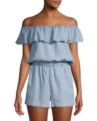 Splendid - Off-the-shoulder Chambray Romper - Lyst