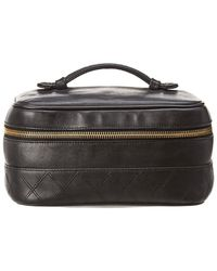 4dab50253adf Chanel - Black Lambskin Leather Horizontal Cosmetic Case - Lyst