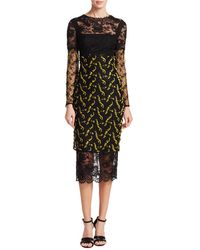 Monique Lhuillier - Lace Midi Dress - Lyst