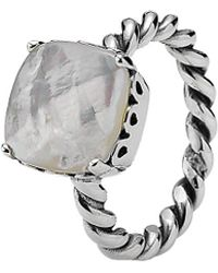 PANDORA - Elegant Sincerity Silver Mother-of-pearl Twist Ring - Lyst