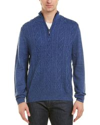 Brooks Brothers - Cable-knit Wool-blend 1/2-zip Pullover - Lyst