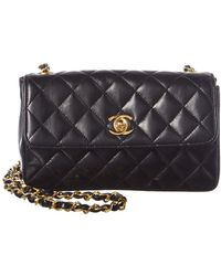 55058d750547 Chanel Black Quilted Lambskin Leather Mini Flap Bag in Black - Lyst