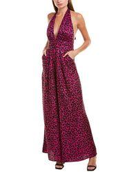 MILLY Halter Silk Jumpsuit - Pink