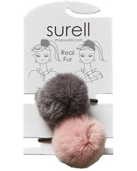 Surell - Set Of 2 Pompom Hair Bands - Lyst