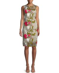 Calvin Klein - Knee-length Floral Embroidered Dress - Lyst