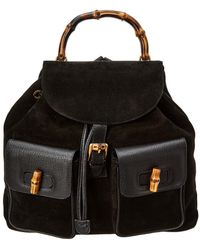 Gucci - Black Suede Large Bamboo Backpack - Lyst